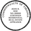 RESIDENAPPR-VA - Certified Residential Real Estate Appraiser - Virginia<br>RESIDENAPPR-VA