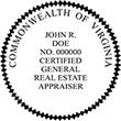 REGENAPPR-VA - Certified General Real Estate Appraiser - Virginia<br>REGENAPPR-VA