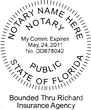 FL-NOT-RND-1 - Florida Round Notary Stamp with Bonded Info