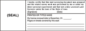 LANDSURV2-IA - Land Surveyor Stamp - Iowa<br>LANDSURV2-IA
